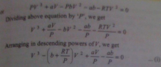 12h Van der waals equation for 1 mole of gas