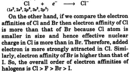 14 F, Cl, Br, I in decreasing order of their electron