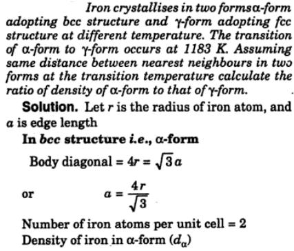 15 Iron crystallizes in 2 forms bcc structure