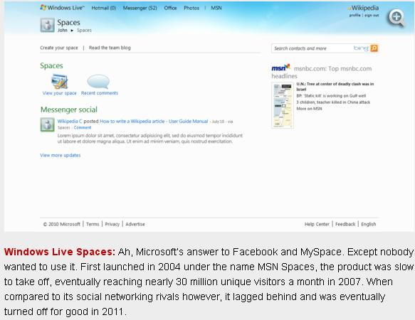 16 Windows Live Spaces Failure
