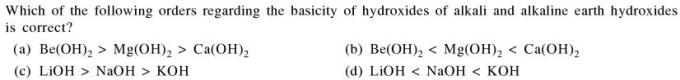 17a basicity of hydroxides