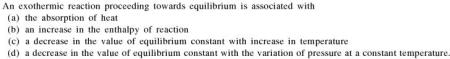 1a An exothermic reaction proceeds towards equilibrium