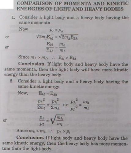 1a Comparison of Momenta and KE of light and heavy Bodies