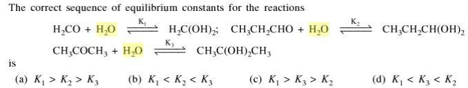 1a Correct sequence of equilibrium constant