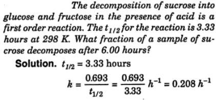 1a decomposition of sucrose into glucose and fructose