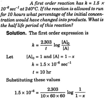 1a First order reaction has k