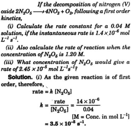 1a If the decomposition of Nitrogen V oxide