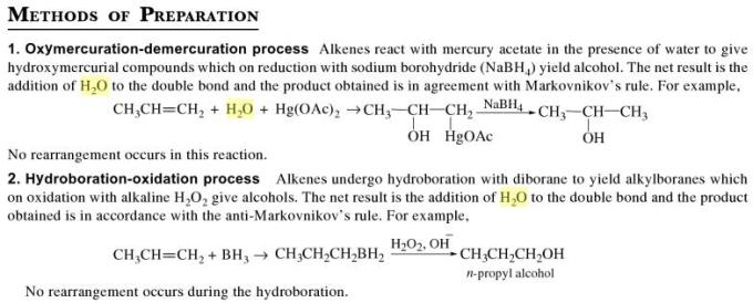 1a Methods of preparing Alcohols