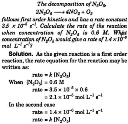 1a The decomposition of N2O5 follows first order kinetics
