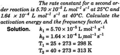 1a The rate constant for a second order reaction