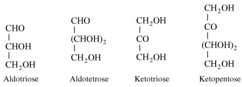 1b Aldotriose, Aldotetrose, Ketotriose, Ketopentose