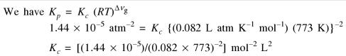 1b For the reversible reaction the value of Kp is