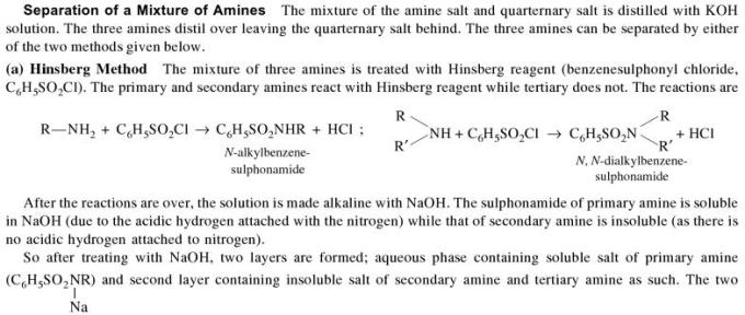 1b Separation of a mixture of Amines