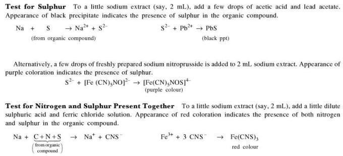 1b Test for Sulphur and Nitrogen