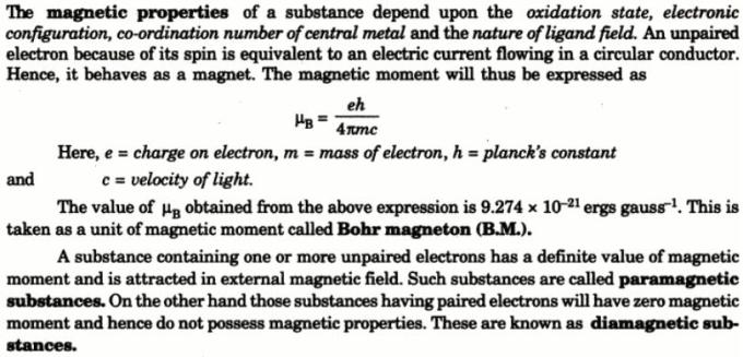 1c Theory of Magnetic properties of Co-ordination complexes