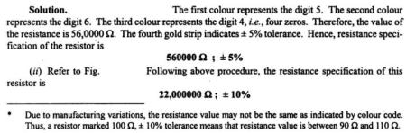 1d Colour Code for Carbon Resistors