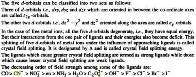 1d Crystal field splitting of orbitals