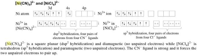 1d [Ni(CN)4]2- is diamagnetic [NiCl4]2- is paramagnetic