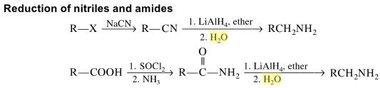 1d reduction of nitriles and amides
