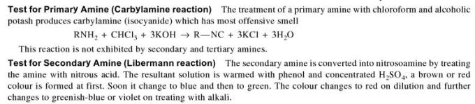 1d Test for Primary and Secondary Amine
