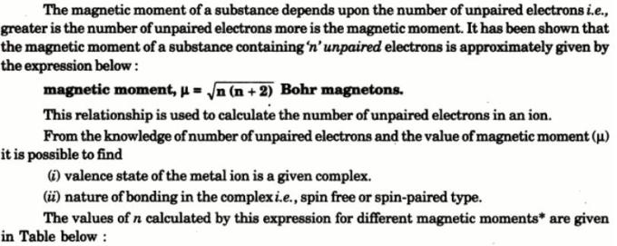 1d Theory of Magnetic properties of Co-ordination complexes