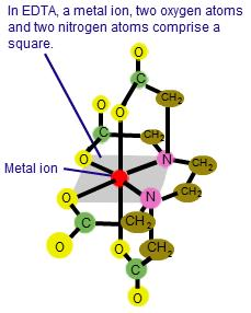 1e in EDTA a metal ion 2 oxygen atoms 2 Nitrogen make square