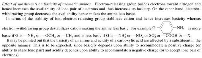 1h Effect of substituents on basicity of aromatic compounds