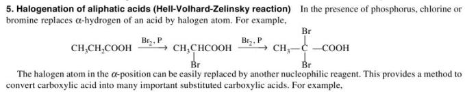 1h Halogenation of acids Hell Volhard Zelinsky reaction