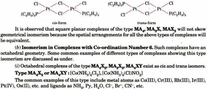 1i Cis Trans Co-ordination complex isomers
