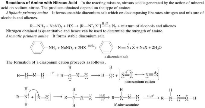 1n Reactions of Amine with Nitrous Acid