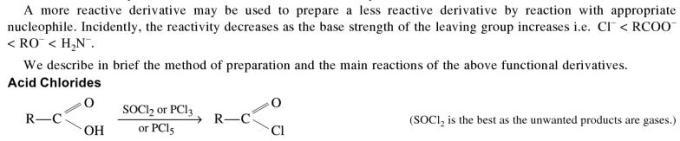 1o Reactivity of Acyl Derivatives