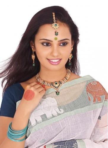 2 Beautiful girl in white Sari