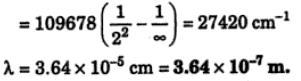 2 calculate wavelength of 1st line balmer series