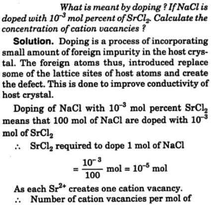 2 doping NaCl is doped with SrCl2