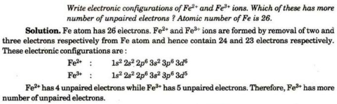 2 electronic configurations of Fe+2 and Fe+3