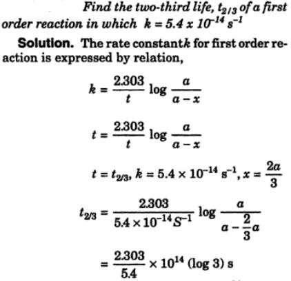 2 find the two-third life of a first order reaction