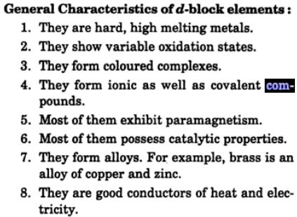 2 General characteristics of d block elements