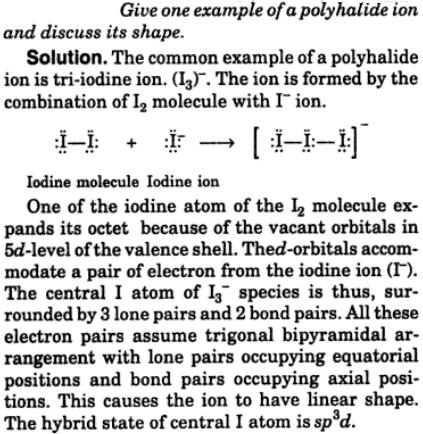 2 give 1 example of a polyhalide ion shape