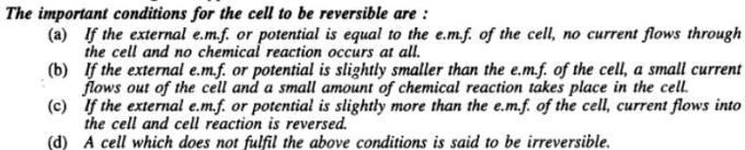 2 Important conditions for the cell to be reversible