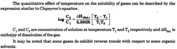 2 Quantitative effect of temperature Clapeyron's Equation