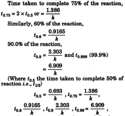 2 Time taken to conplete various percentage of reaction