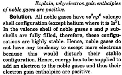 2 why electron gain enthalpies of noble gases are positive