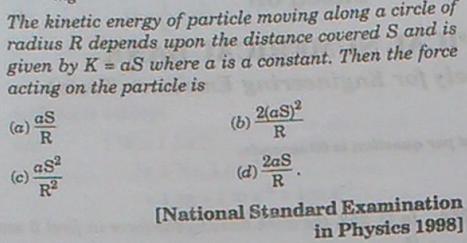 261a KE of a particle moving along a circle