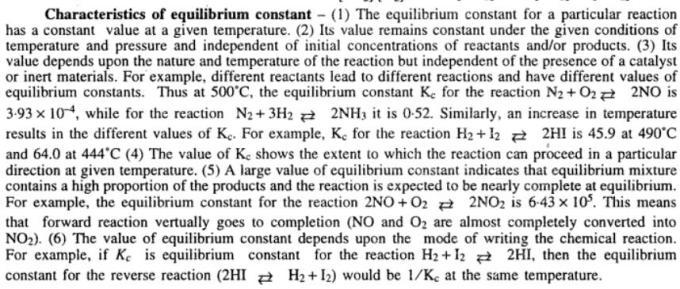 3 Characteristics of equlibrium constant