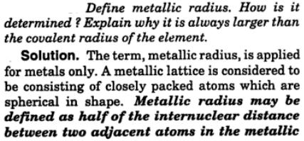 3 Define metallic radius how is it determined