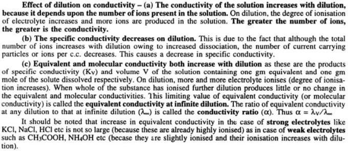 3 Effect of dilution on conductivity