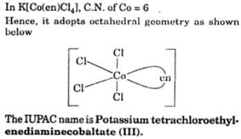 3 IUPAC Potassiumtetrachloroethylenediaminecobalt(III)