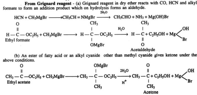 3 Preparing Aldehydes from Grignard reagents