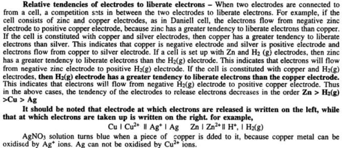 3 Relative tendencies of electrodes to liberate electrons