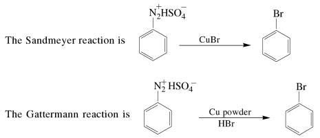 3 sandmeyer and Gattermann reaction